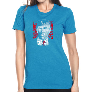 LA Pop Art Women's Premium Blend Word Art T-shirt - TRUMP  - Make America Great Again