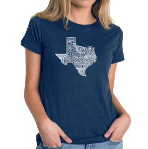 LA Pop Art Women's Premium Blend Word Art T-shirt - The Great State of Texas