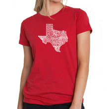 Load image into Gallery viewer, LA Pop Art Women's Premium Blend Word Art T-shirt - The Great State of Texas