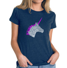 Load image into Gallery viewer, LA Pop Art Women's Premium Blend Word Art T-shirt - Unicorn