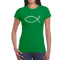 Load image into Gallery viewer, LA Pop Art Women's Word Art T-Shirt - JESUS FISH