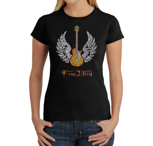 LA Pop Art Women's Word Art T-Shirt - LYRICS TO FREE BIRD