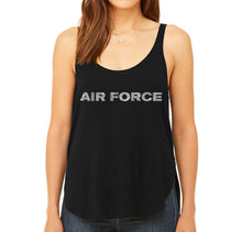 Load image into Gallery viewer, LA Pop Art Women's Word Art Flowy Tank - Lyrics To The Air Force Song