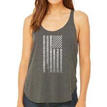 Load image into Gallery viewer, LA Pop Art Women's Word Art Flowy Tank - National Anthem Flag