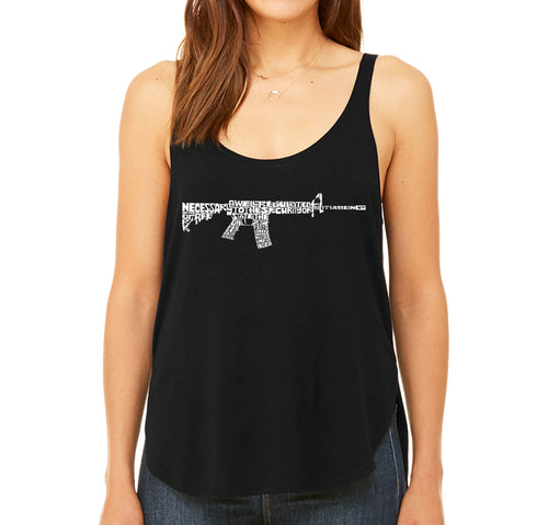 LA Pop Art Women's Word Art Flowy Tank - AR15 2nd Amendment Word Art
