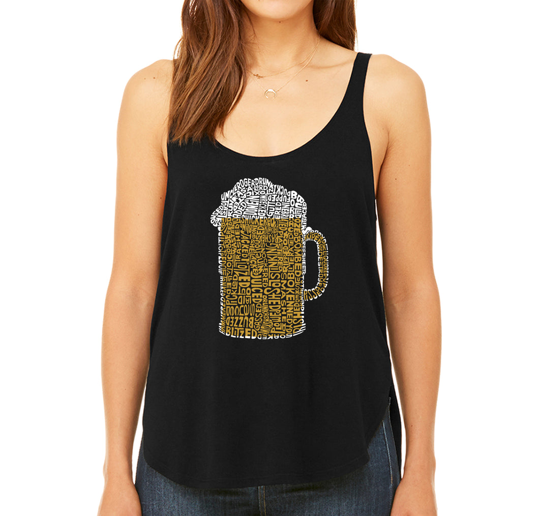LA Pop Art Women's Word Art Flowy Tank - Slang Terms for Being Wasted