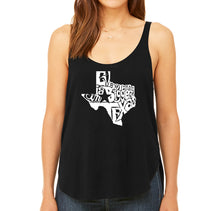 Load image into Gallery viewer, LA Pop Art Women's Word Art Flowy Tank - Everything is Bigger in Texas