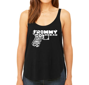 LA Pop Art  Women's Premium Word Art Flowy Tank Top - Out of My cold Dead Hands Gun