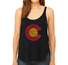 Load image into Gallery viewer, LA Pop Art Women's Word Art Flowy Tank - Colorado