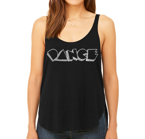 LA Pop Art Women's Word Art Flowy Tank - DIFFERENT STYLES OF DANCE
