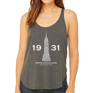 LA Pop Art Women's Word Art Flowy Tank Top - Empire State Building