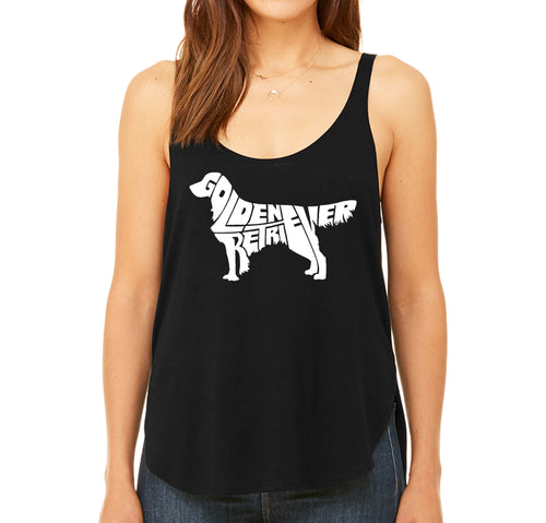 LA Pop Art  Women's Premium Word Art Flowy Tank Top - Golden Retreiver