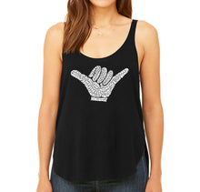 Load image into Gallery viewer, LA Pop Art Women's Word Art Flowy Tank - TOP WORLDWIDE SURFING SPOTS