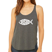 Load image into Gallery viewer, LA Pop Art Women's Word Art Flowy Tank Top - Christian Jesus Name Fish Symbol
