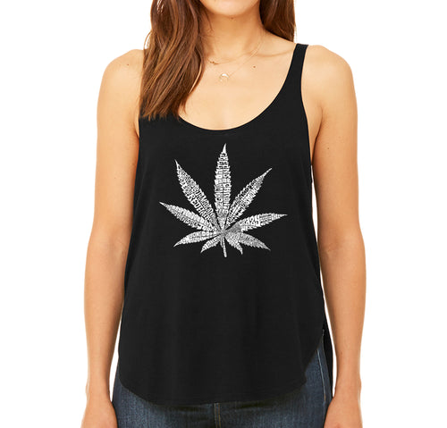 LA Pop Art Women's Word Art Flowy Tank - 50 DIFFERENT STREET TERMS FOR MARIJUANA