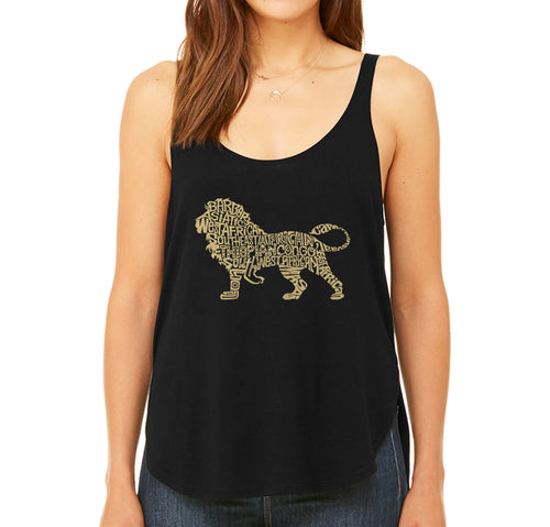 LA Pop Art Women's Word Art Flowy Tank - Lion