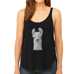 LA Pop Art Women's Word Art Flowy Tank - Llama