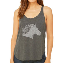 Load image into Gallery viewer, LA Pop Art Women's Word Art Flowy Tank Top - Horse Mane