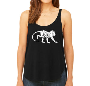 LA Pop Art Women's Word Art Flowy Tank - Monkey Business