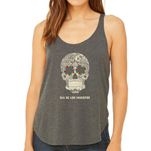 Load image into Gallery viewer, LA Pop Art Women's Word Art Flowy Tank Top - Dia De Los Muertos
