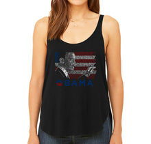 Load image into Gallery viewer, LA Pop Art Women's Word Art Flowy Tank - BARACK OBAMA - ALL LYRICS TO AMERICA THE BEAUTIFUL