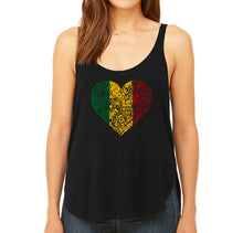 Load image into Gallery viewer, LA Pop Art  Women's Premium Word Art Flowy Tank Top - One Love Heart