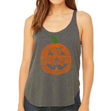 Load image into Gallery viewer, LA Pop Art Women's Word Art Flowy Tank - Pumpkin