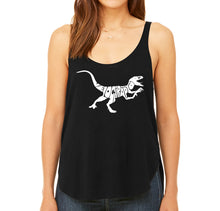 Load image into Gallery viewer, LA Pop Art Women's Word Art Flowy Tank - Velociraptor