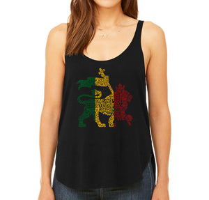 LA Pop Art Women's Word Art Flowy Tank - Rasta Lion - One Love