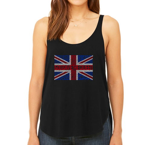 LA Pop Art Women's Word Art Flowy Tank Top - God Save The Queen