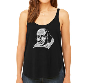 LA Pop Art Women's Word Art Flowy Tank - THE TITLES OF ALL OF WILLIAM SHAKESPEARE'S COMEDIES & TRAGEDIES