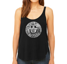 Load image into Gallery viewer, LA Pop Art Women's Word Art Flowy Tank - SMILE IN DIFFERENT LANGUAGES