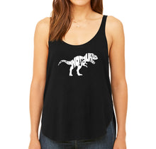 Load image into Gallery viewer, LA Pop Art Women's Word Art Flowy Tank - TYRANNOSAURUS REX