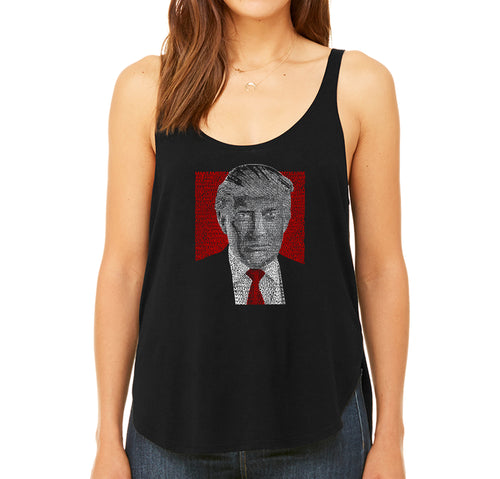 LA Pop Art Women's Word Art Flowy Tank - TRUMP 2016 - Make America Great Again