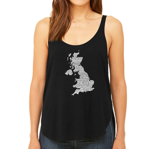 LA Pop Art Women's Word Art Flowy Tank - GOD SAVE THE QUEEN