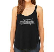 Load image into Gallery viewer, LA Pop Art Women's Word Art Flowy Tank - Woody - Classic Surf Songs