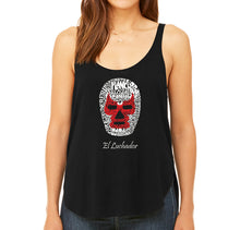 Load image into Gallery viewer, LA Pop Art Women's Word Art Flowy Tank - MEXICAN WRESTLING MASK