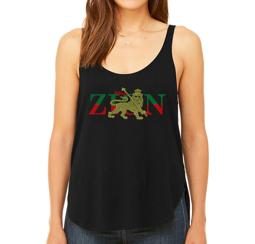 LA Pop Art Women's Word Art Flowy Tank Top - Zion - One Love