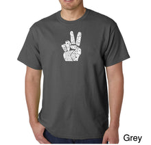 Load image into Gallery viewer, LA Pop Art Men's Word Art T-shirt - PEACE FINGERS