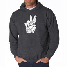Load image into Gallery viewer, LA Pop Art Men's Word Art Hooded Sweatshirt - PEACE FINGERS