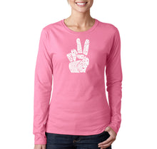Load image into Gallery viewer, LA Pop Art Women's Word Art Long Sleeve T-Shirt - PEACE FINGERS