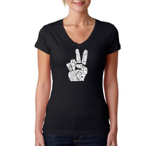 Load image into Gallery viewer, LA Pop Art Women's Word Art V-Neck T-Shirt - PEACE FINGERS