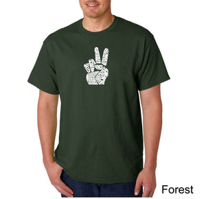 LA Pop Art Men's Word Art T-shirt - PEACE FINGERS