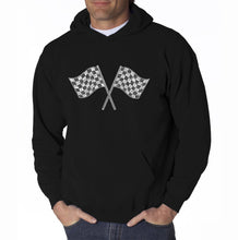 Load image into Gallery viewer, LA Pop Art Men's Word Art Hooded Sweatshirt - NASCAR NATIONAL SERIES RACE TRACKS
