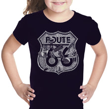 Load image into Gallery viewer, LA Pop Art Girl's Word Art T-shirt - Stops Along Route 66