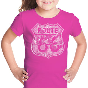 LA Pop Art Girl's Word Art T-shirt - Stops Along Route 66
