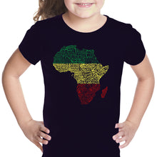 Load image into Gallery viewer, LA Pop Art Girl's Word Art T-shirt - Countries in Africa