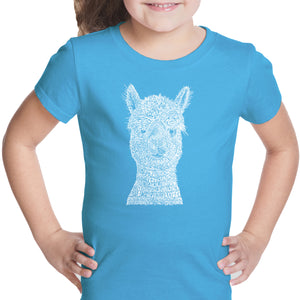 LA Pop Art Girl's Word Art T-shirt - Alpaca