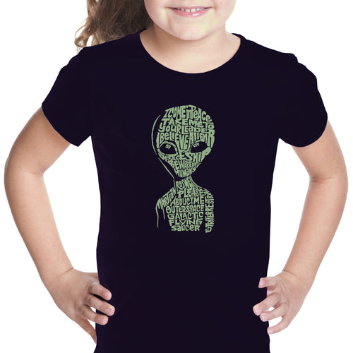 LA Pop Art Girl's Word Art T-shirt - Alien