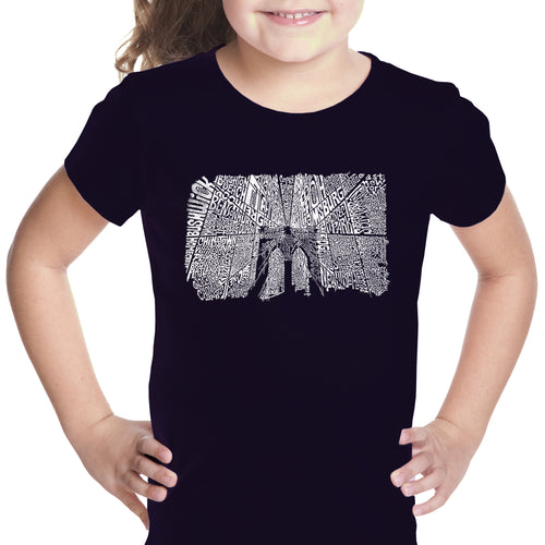 LA Pop Art Girl's Word Art T-shirt - Brooklyn Bridge